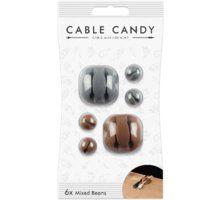Organizues i kabllove Cable Candy Mixed Beans, 6 copë, të hirta / kafta