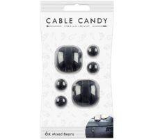 Organizues i kabllove Cable Candy Mixed Beans, 6 copë, e zezë